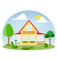a house with a glassed-in terrace with flowers on vector image vector image
