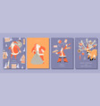 a set of cards for christmas and new year vector image