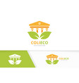 bank and leaf logo combination column and vector image vector image