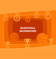 basketball abstract background with paper cut vector image vector image