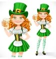 Beautiful girl leprechaun offers a beer isolated vector image vector image