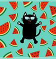 black cat wearing sunglasses jumping or making vector image vector image