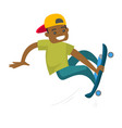 black man riding a skateboard vector image