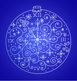blue christmas card with clock vector image vector image