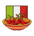 bowl with chili pepper flag mexican food vector image