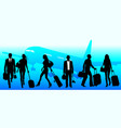 business travel people at airport - global vector image