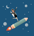 business woman astronaut on pencil rocket vector image vector image