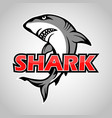 cartoon shark mascot on gray background vector image vector image