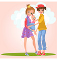 cartoon smiling lesbian girls posing outdoors on vector image vector image