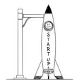 cartoon space rocket on launchpad startup vector image