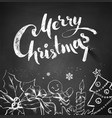 Chalked Christmas with lettering vector image vector image