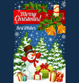 christmas card with snowman and xmas gift vector image