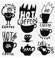 coffee cups doodles vector image vector image