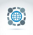 conceptual society symbol earth protection icon vector image