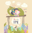 cute cartoon dragon unicorn and little princess vector image vector image