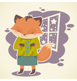 Cute cartoon fox character celebration card vector image