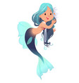 cute little mermaid isolated on white background vector image