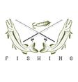 design template of vintage fishing emblem vector image