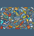 doodle cartoon set water sport objects vector image