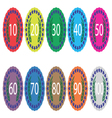 Emblem badge anniversaries color set vector image