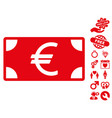 euro banknote icon with love bonus vector image vector image