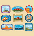 famous monuments and national landmarks retro vector image vector image
