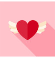 Flat Design Love Heart with Wings Icon vector image vector image