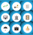 flat icon incoming set of chart counter hand vector image vector image