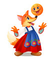 fox in traditional russian dress and a smiling vector image