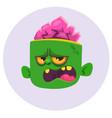 funny zombie head cartoon character vector image vector image