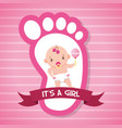 girl rattle footprint greeting card baby shower