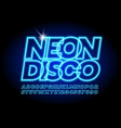 glowing logo neon disco with electric font vector image vector image
