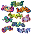 Graffiti words set vector image vector image