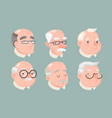 grandfather adult old man characters icons set vector image vector image