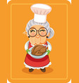 grandma holding roasted turkey vector image