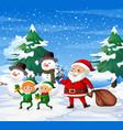 happy santa and elf ourdoor background vector image