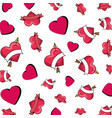 hearts love with arrows pattern vector image