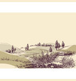 hills landscape hand drawing travel or tourism in vector image vector image