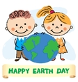 Kids with Earth day vector image vector image