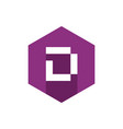 letter d icon with flat purple hexagon vector image