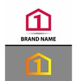 Logo number one 1 icon template with house icon vector image vector image