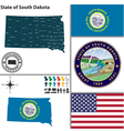 map south dakota with seal vector image vector image