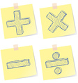 Mathematics signs sketches vector image
