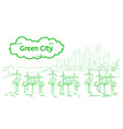 modern eco city with wind turbines and solar vector image
