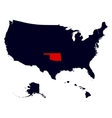Oklahoma State in the United States map vector image