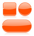 orange buttons round square and oval shiny icons vector image