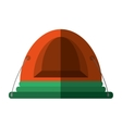 orange dome tent hiking forest camping shadow vector image vector image
