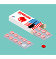 Republican vitamins Political tablets Pils in pack vector image vector image