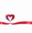 samoan flag heart-shaped ribbon vector image vector image