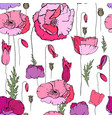 seamless floral pattern with romantic poppy vector image vector image